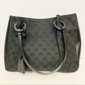 GUCCI | Black Monogram Leather Bag & Inner Pouch